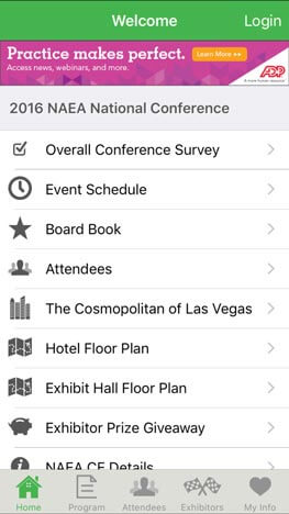 NAEA-Tracks-with-Ad-Banner - Mobile App for Conferences and